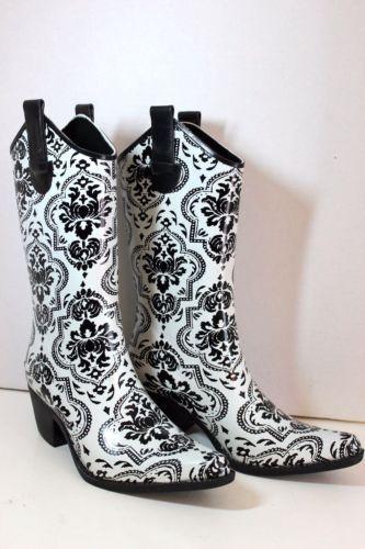 4795477abc8 Corkys-Womens-Black-White-Cowboy-Western-Style-Rubber-Rain-Boots ...