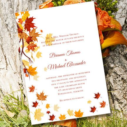 printable wedding invitation template falling leaves microsoft word w editable text boxes
