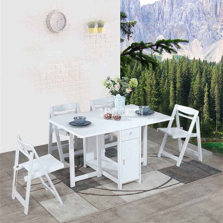 Household Solid Wood Table Chair Set Modern Minimalist Kitchen Telescopic Dinner Table Small Folding Dining Solid Wood Table Dining Table Folding Dining Table