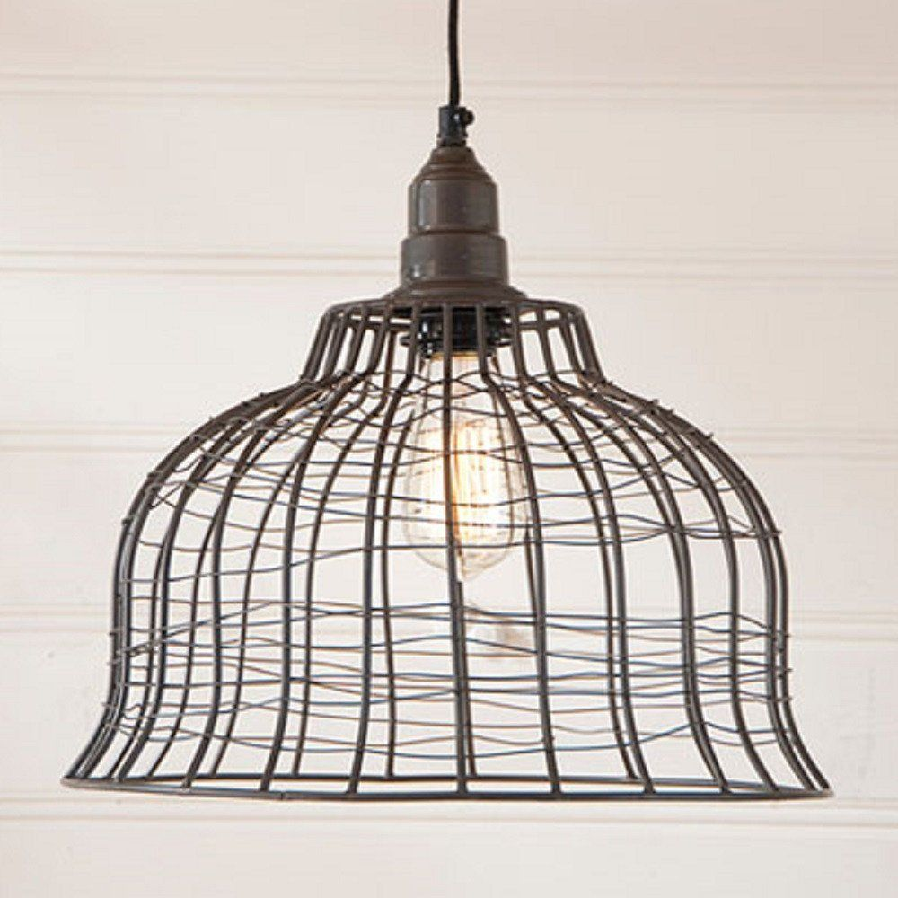 INDUSTRIAL WIRE CAGE PENDANT LAMP in Smokey Black Finish | Kitchen ...