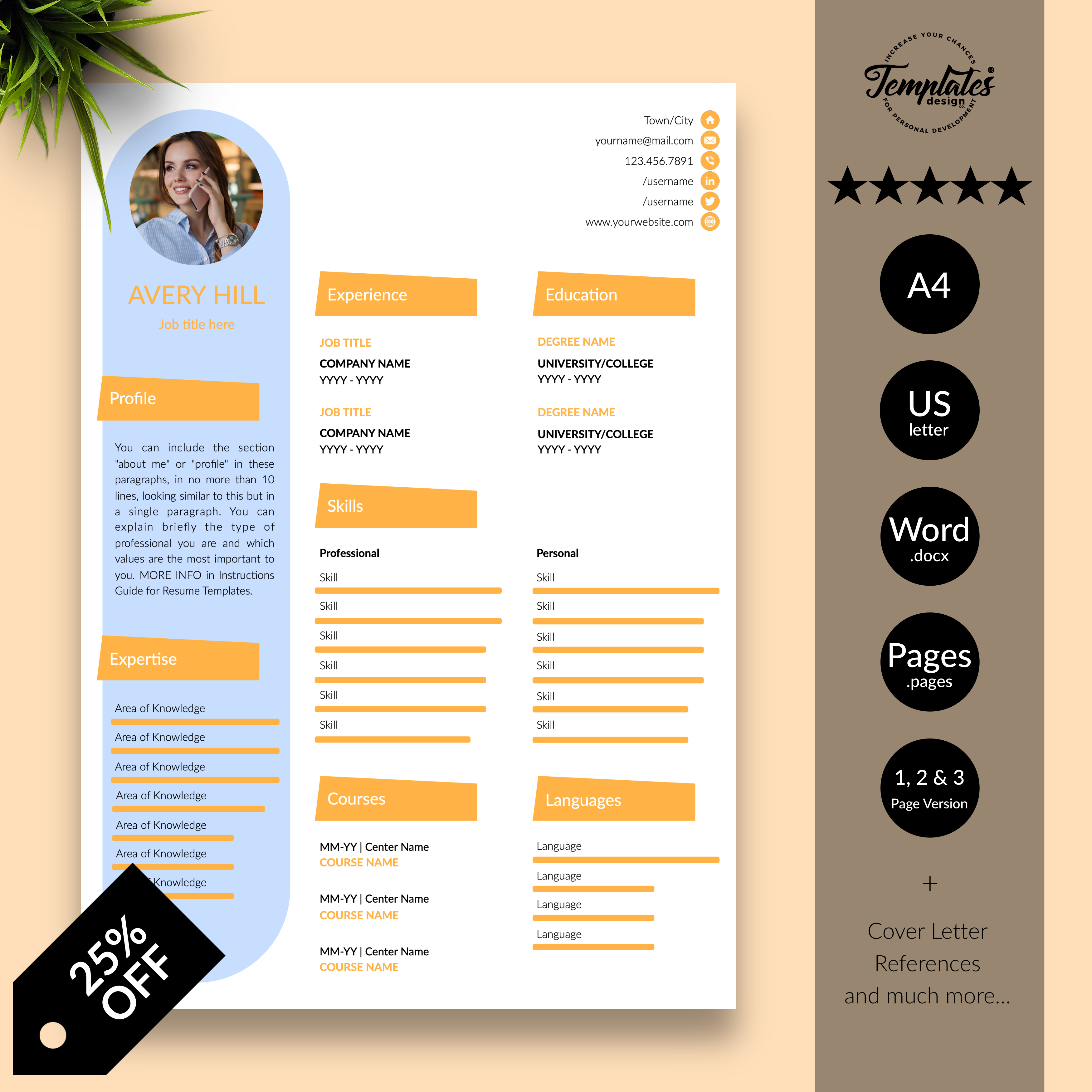 Creative Resume Template For Word Instant Download Cv Etsy Creative Resume Templates Creative Resume Reference Letter Template