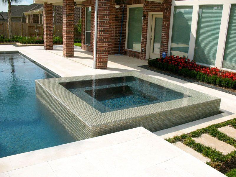 Contemporary pool design, negative edge spa, glass tile. www ...