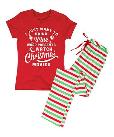15eba6a68 Another great find on #zulily! Red 'Wine & Christmas Movies' Pajama Set -  Women #zulilyfinds