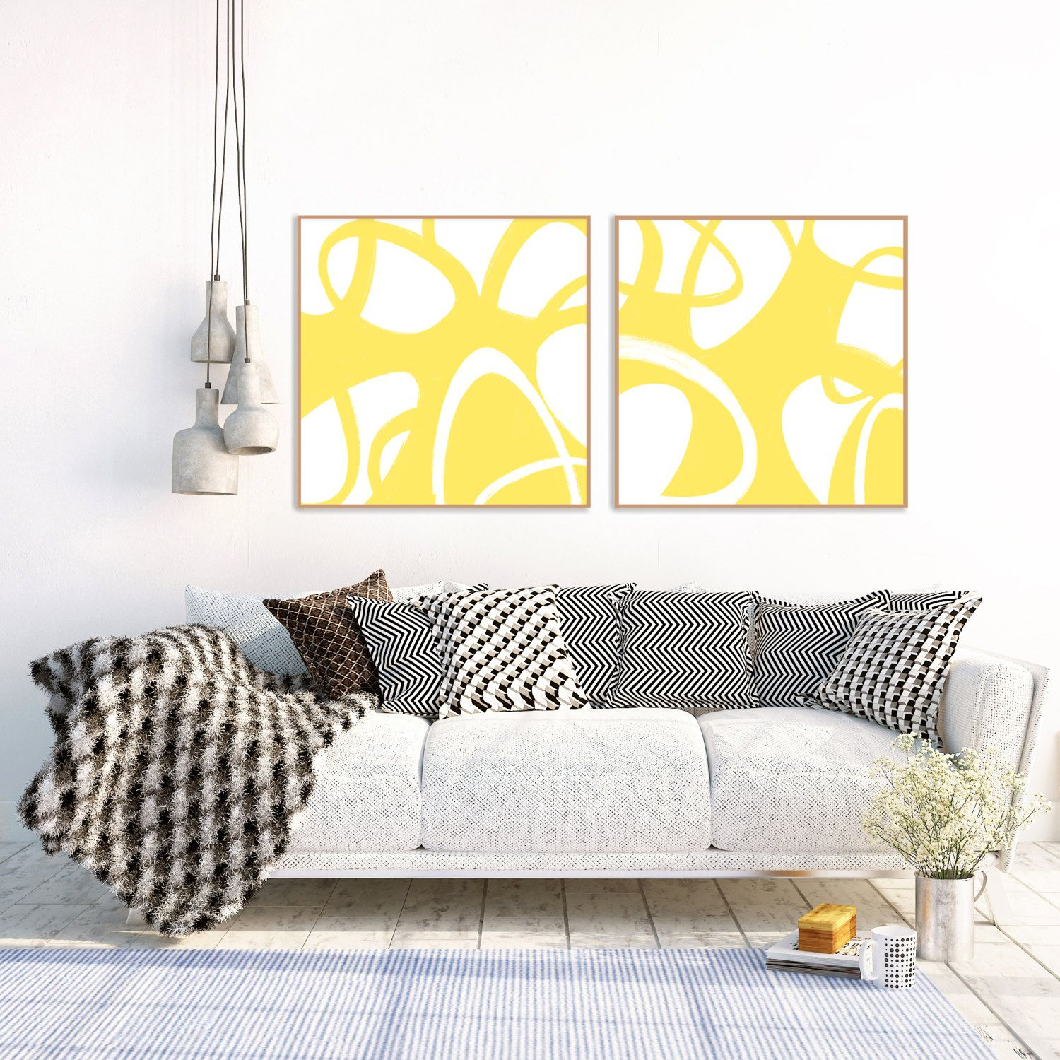 Yellow Abstract Art, Yellow Art, Printable Decor, Modern Minimal ...