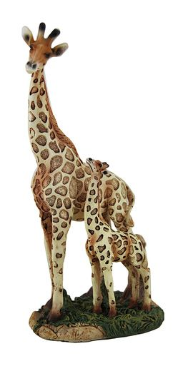 Tall In Love Mother Giraffe Standing with Gazing Calf Statue
