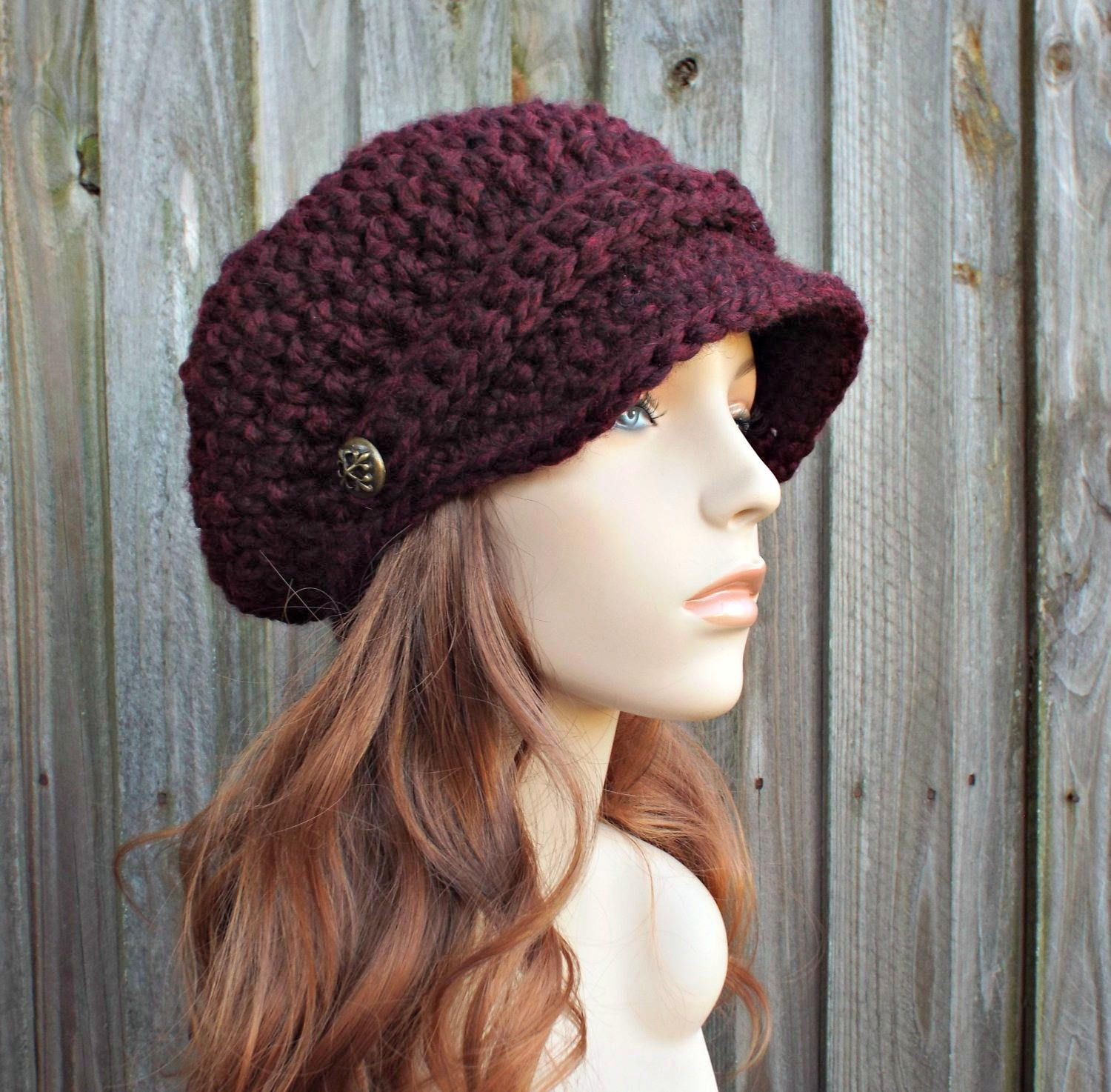 8db8060d27b9b1 Claret Red Wine Hat Burgundy Newsboy Hat Red Crochet Hat Red Womens Hat Red Slouchy  Hat Fall Fashion Winter Accessories - 34 Color Choices