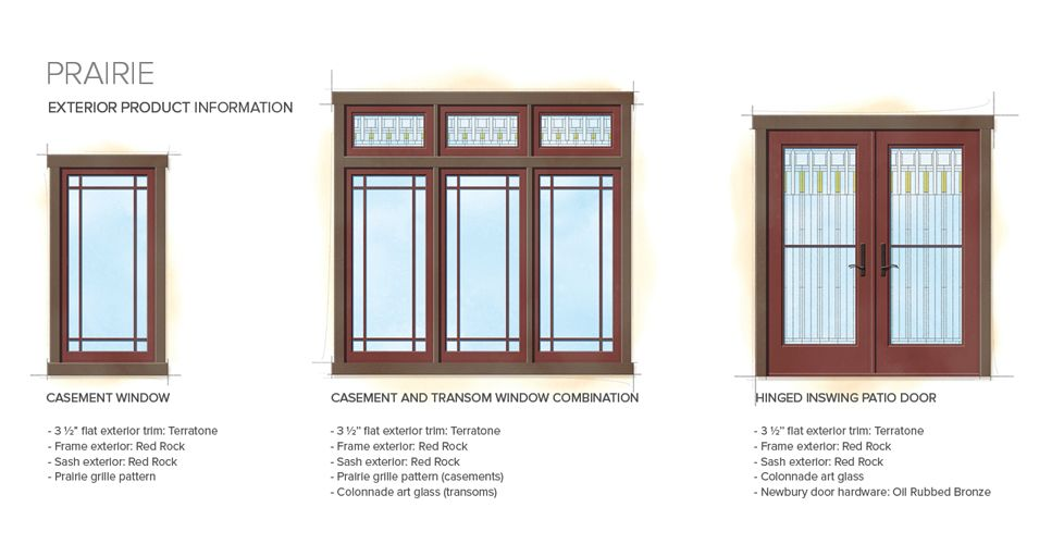 Prairie home style exterior window door details for Colonial window designs