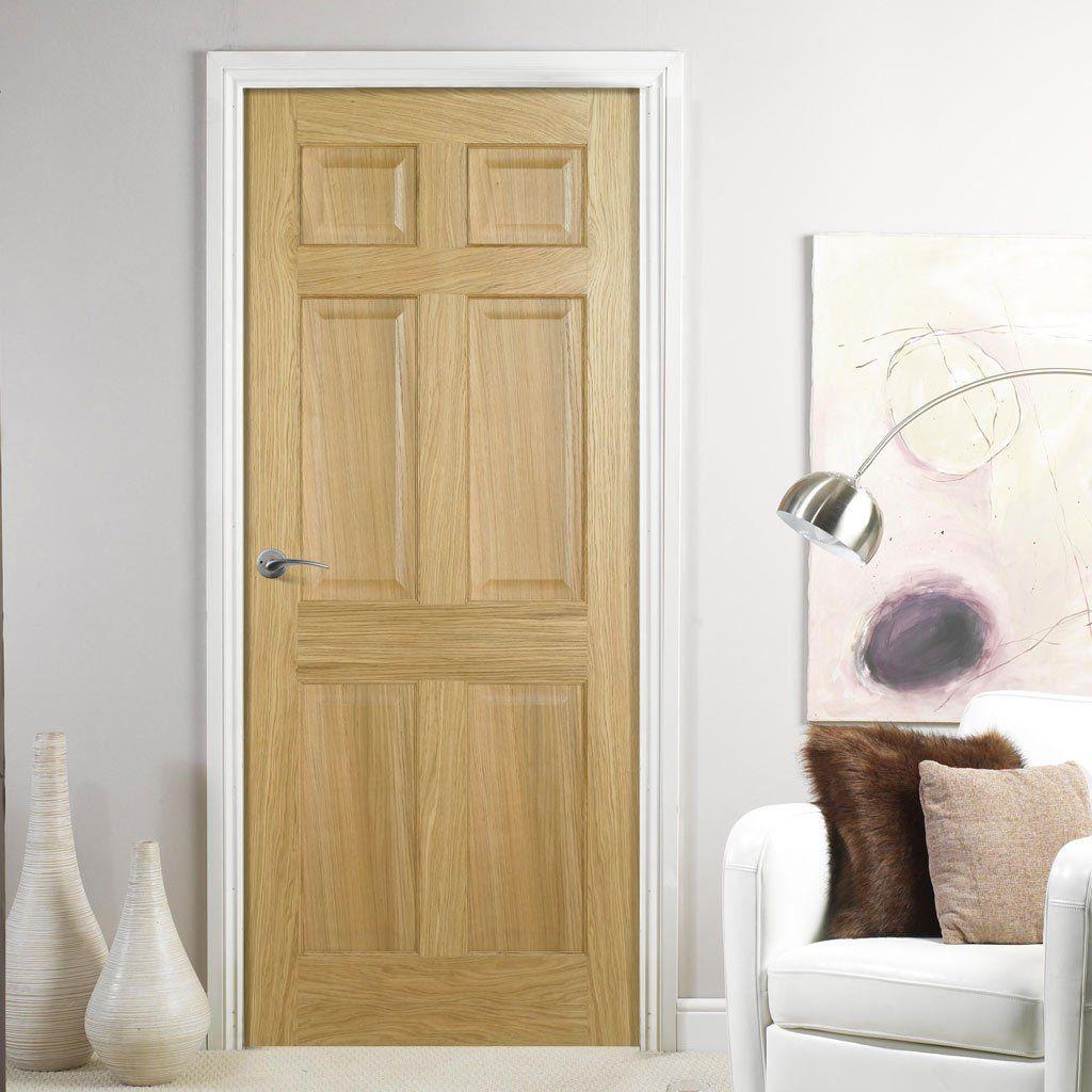 Regency 6 Panel Oak Fire Door No Raised Mouldings 12 Hour Fire