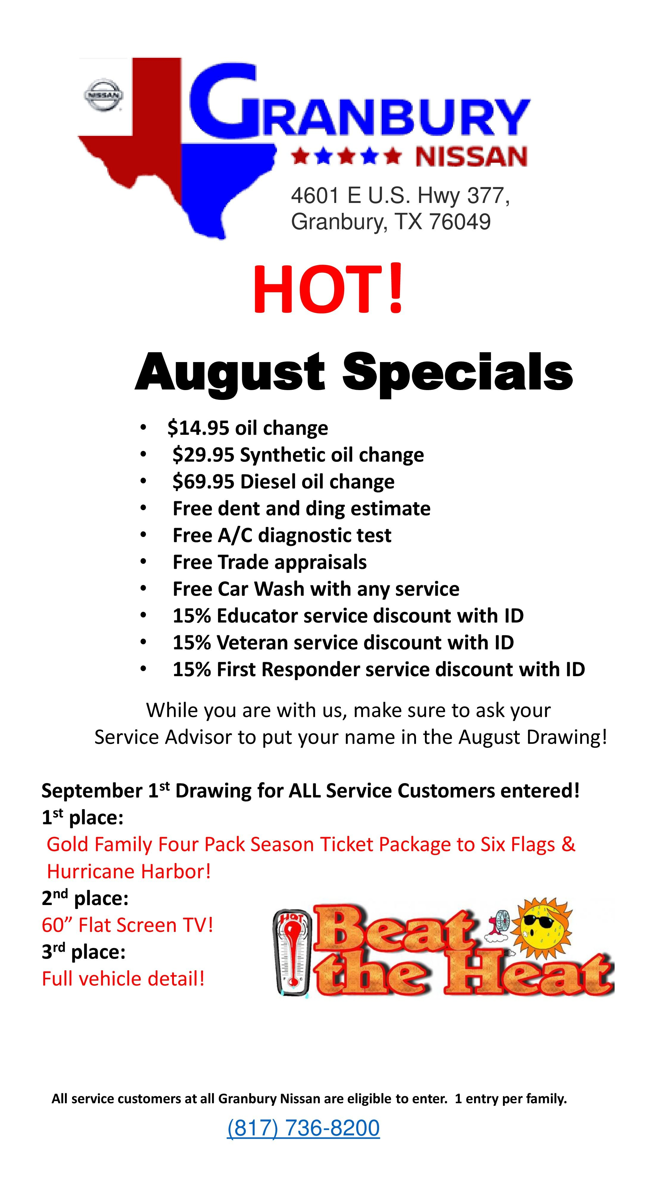 Beat the heat with these hot august specials at granbury