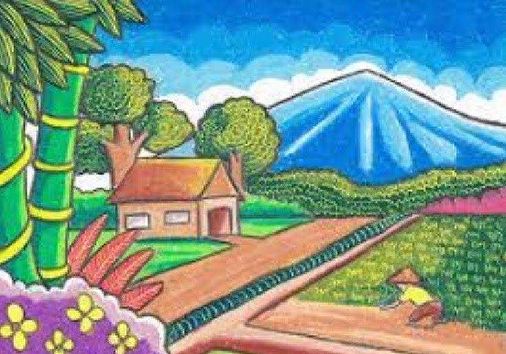 29 Lukisan Pemandangan Rumah Di Desa Sungai Yang Mengalir Begitu Jernihnya Pohon Pohon Yang Rindang Dan Hijau Semuanya Di 2020 Lukisan Ilustrasi Lukisan Pemandangan