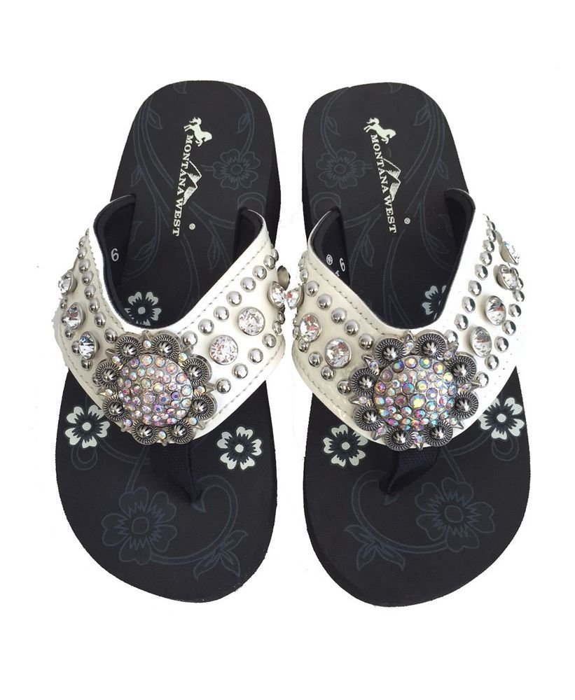 34b91dc4fb76f Montana West Women Flip Flops Wedged Shiny Bling Sandals Floral Concho  Beige  MontanaWest  Western