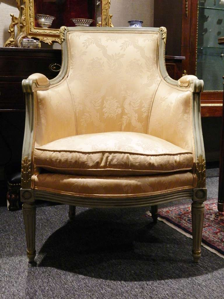 For Sale on   Late Century Louis XVI Style Painted Bergere Chair with Down  Cushion and Upholstered in Silk FabricLate 19th Century Louis XVI Style Painted Bergere Chair with Down  . Louis Xvi Style Furniture For Sale. Home Design Ideas