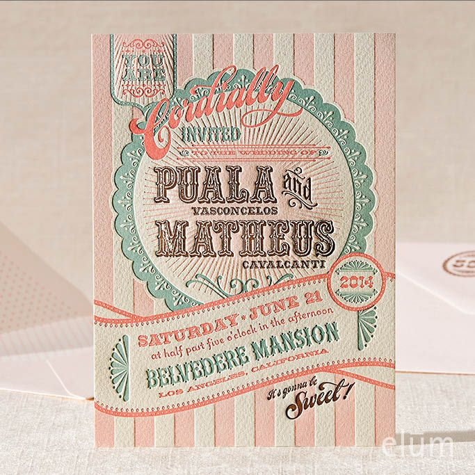 SWEET SHOPPE Elum Couture Vol 3, Letterpress Wedding - vintage invitation template