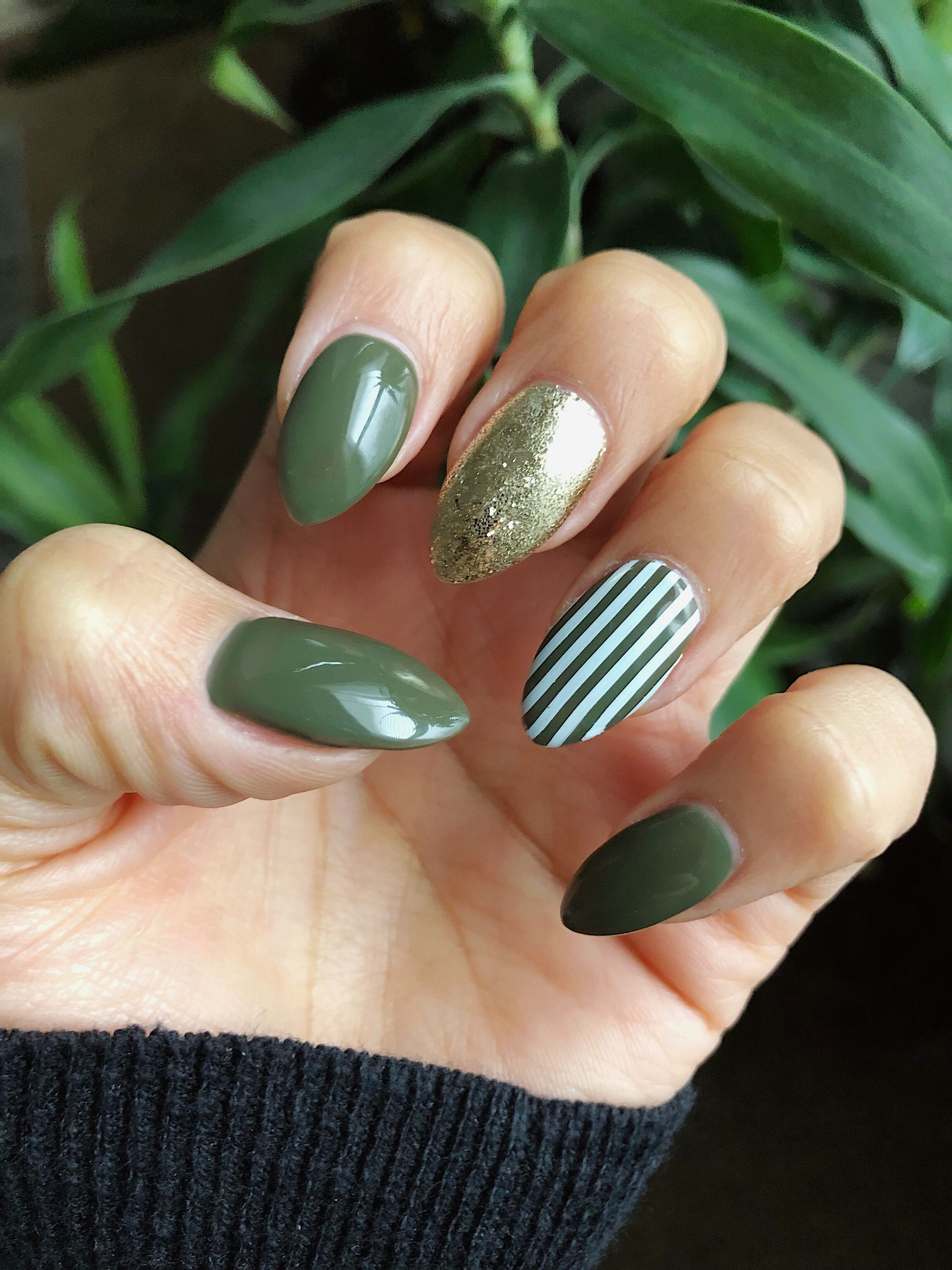 Army green almond nails #nails #winternails | Nails | Pinterest ...