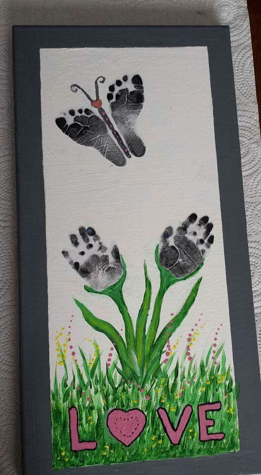 Flower handprunts butterfly footprints babies and for Butterfly hands craft