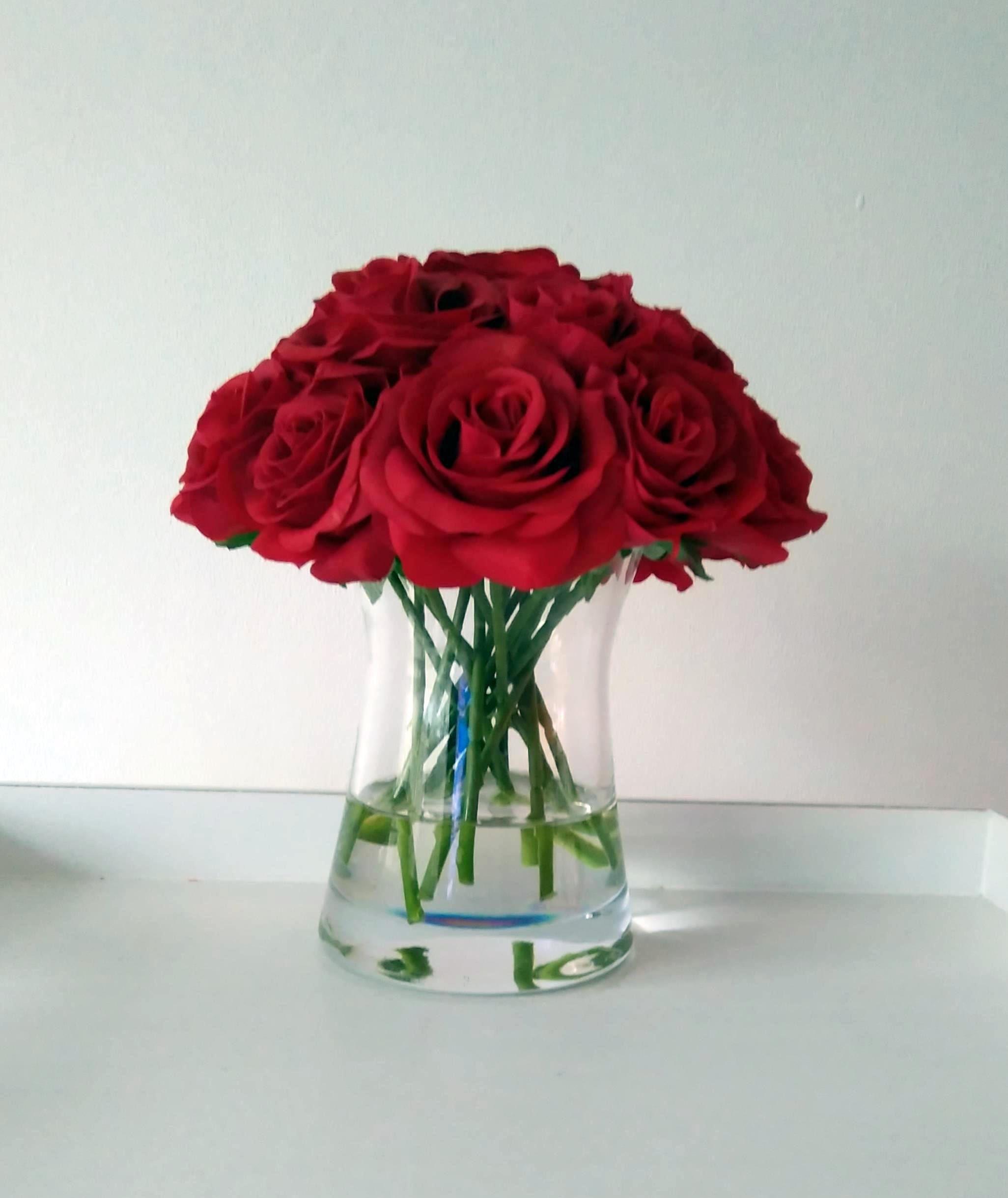 Faux silk floral arrangement real touch flowers in vase red decor faux silk floral arrangement real touch flowers in vase red decor gift for mightylinksfo