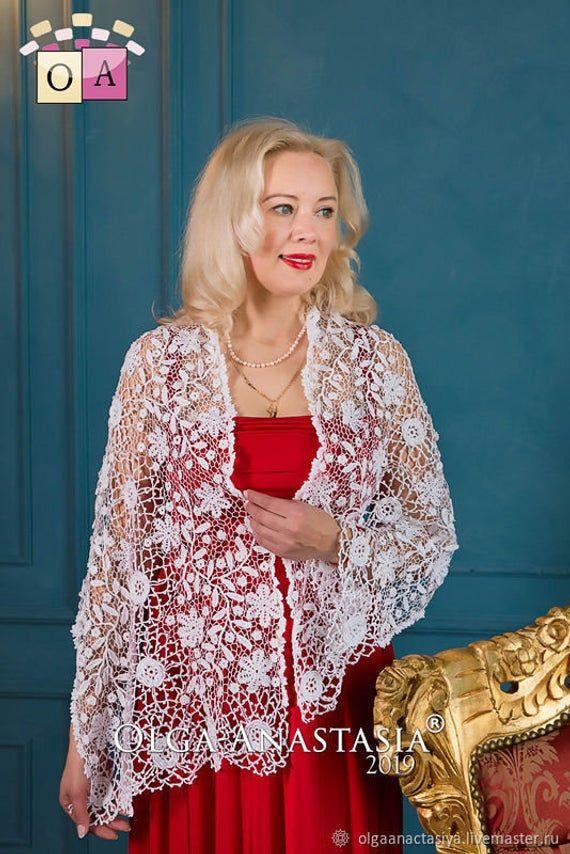 CROCHET PATTERN - Crochet White Stole - Wedding Tippet - Irish lace -Digital download (2 PDF) #irishlacecrochetpattern