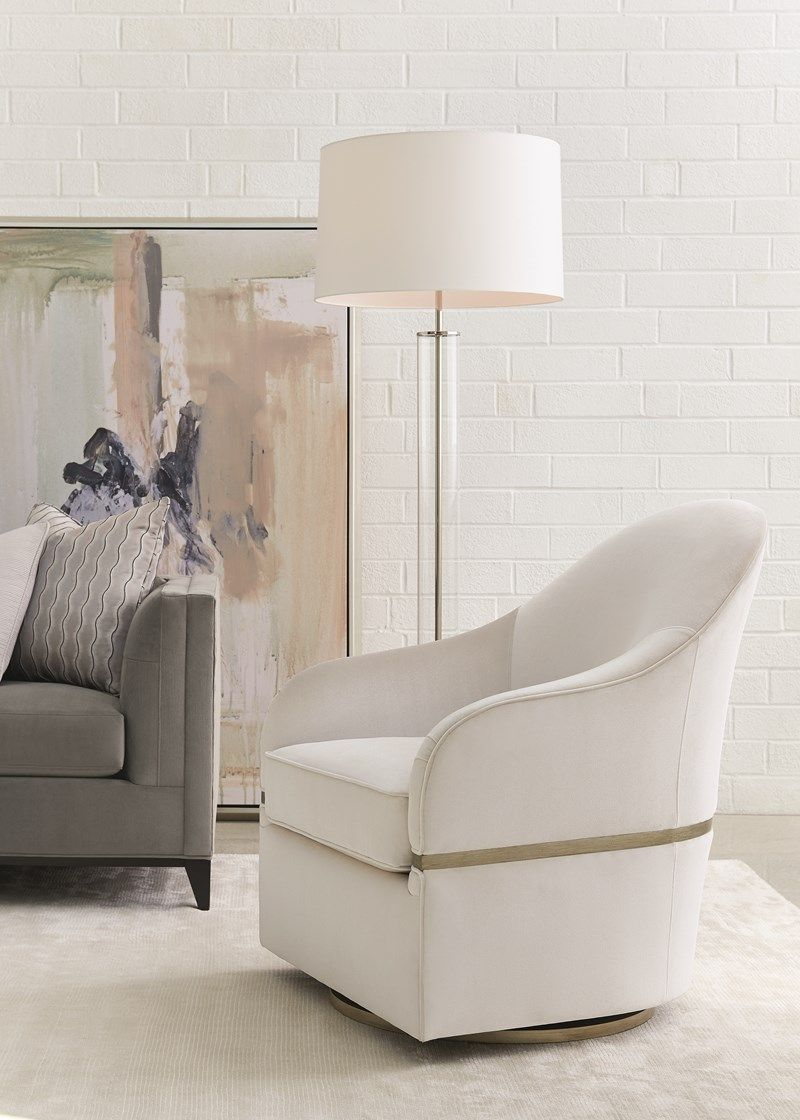 One Good Turn Swivel Chair Caracole Now Here S A Chair You Can Love Elegant In Its Simplicity This Graceful Accent Chairs Caracole Furniture Unique Sofas