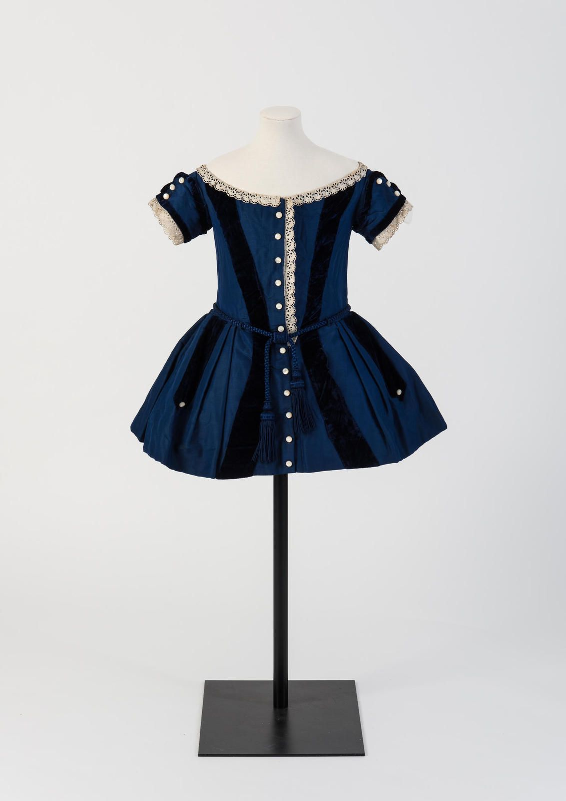 Blue wool and silk boy's frock, 1850s