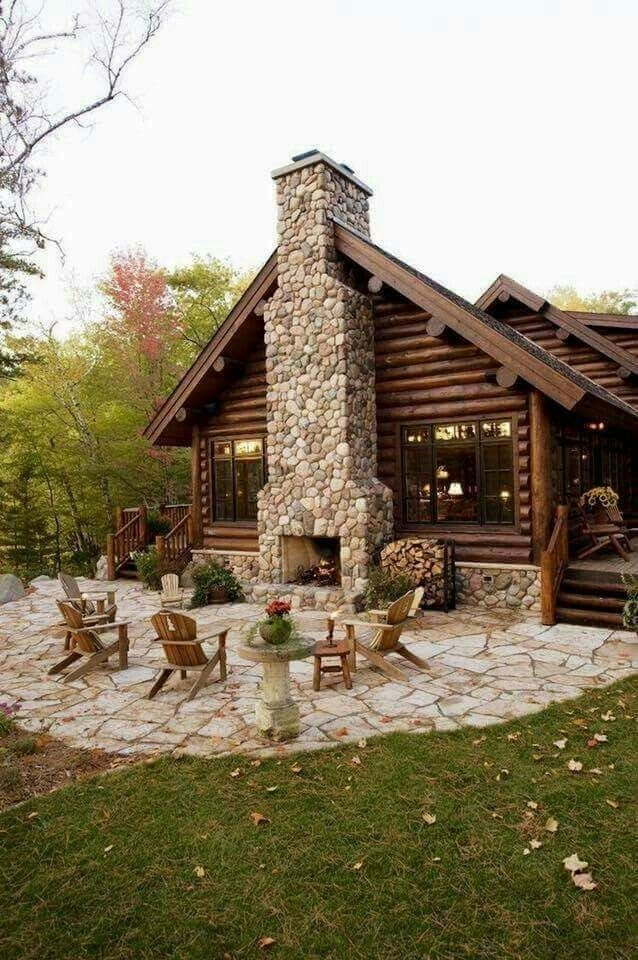 Love The Outside Fireplace Architectural Landscape Design Rustic Outdoor Fireplaces Home Fireplace Log Cabin Homes