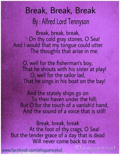 alfred tennyson break break break