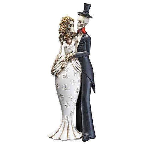 Day of the Dead Skeleton Bride and Groom Statue Sculpture Mart - halloween statues