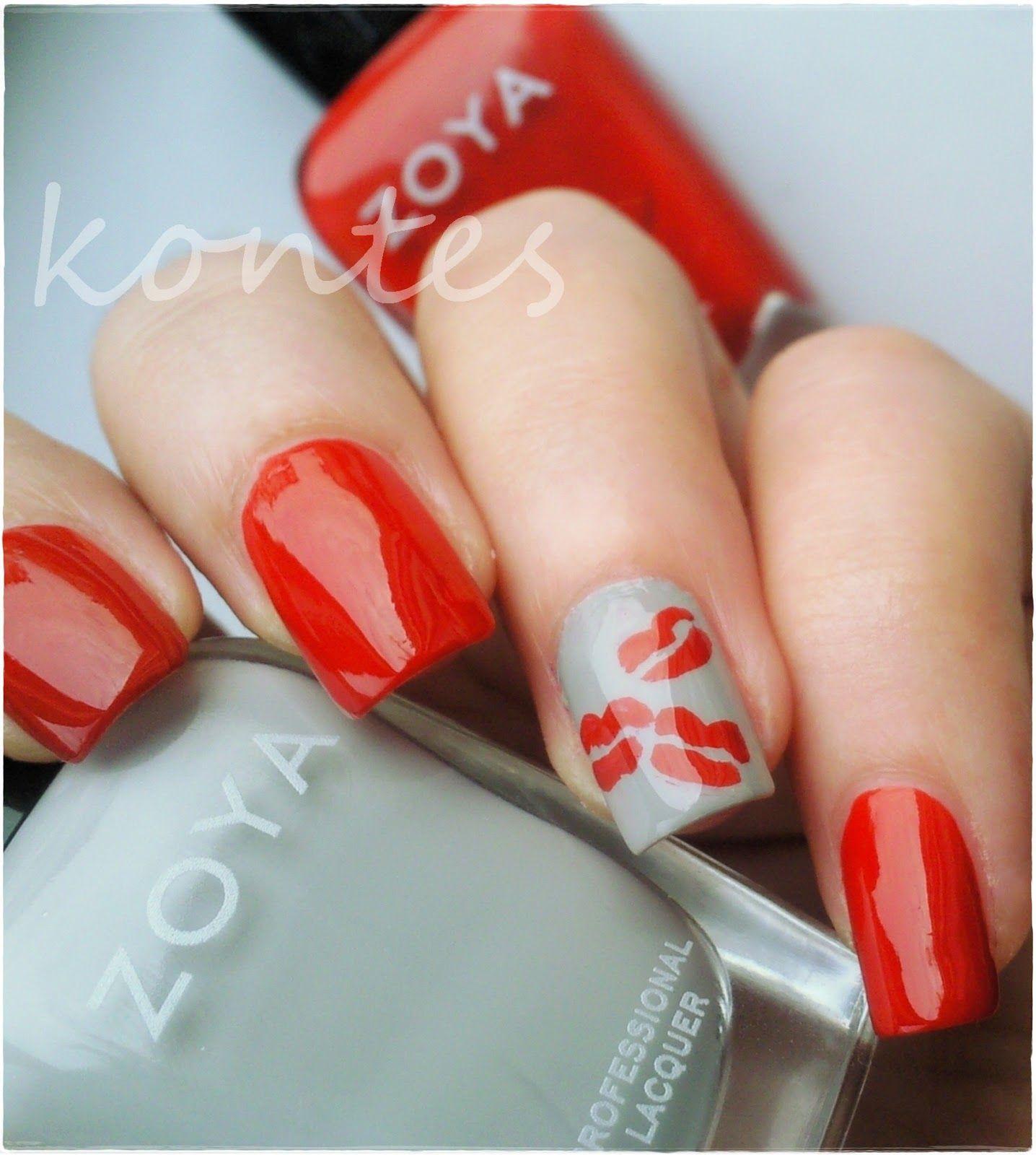 Kiss Nail Art featuring Zoya Nail Polish in Tamsen and Zoya Dove ...