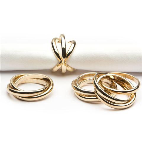 L objet Linked Rings Gold Napkin Ring Set 4pce