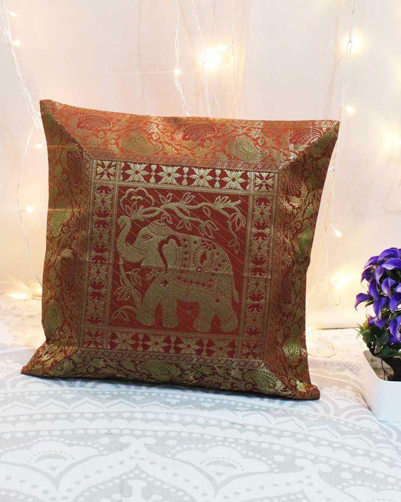 Gold elephant silk jacquard throw pillows decorative pillow