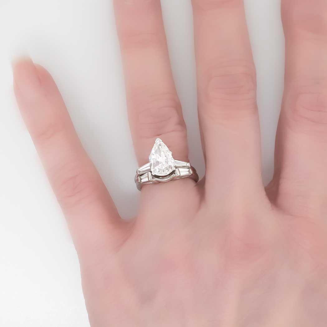 glorious 202ct tw estate pear diamond baguette accent engagement ring set platinum antique - Pear Shaped Wedding Ring Sets