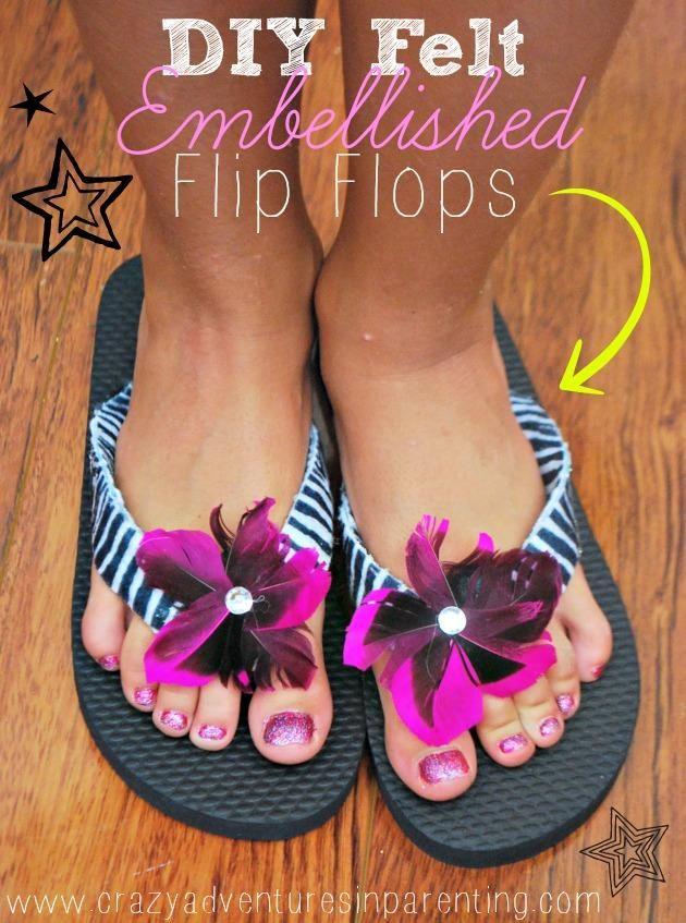 52a0eb2350179e DIY Art   Crafts   DIY Felt Embellished Flip Flops Craft