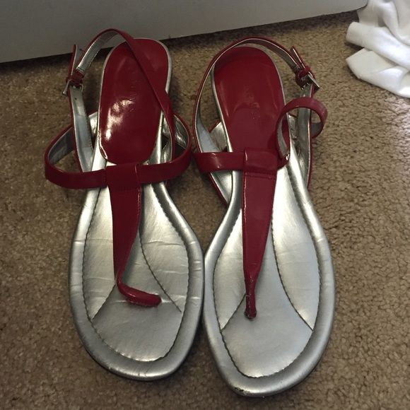 Sandals Worn once red sandals with a little wedge Nine West Shoes Sandals
