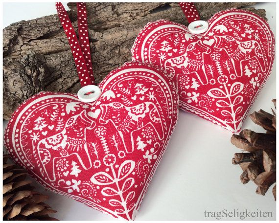 Christmas Fabric Hearts Rustic Christmas Decoration Red And White