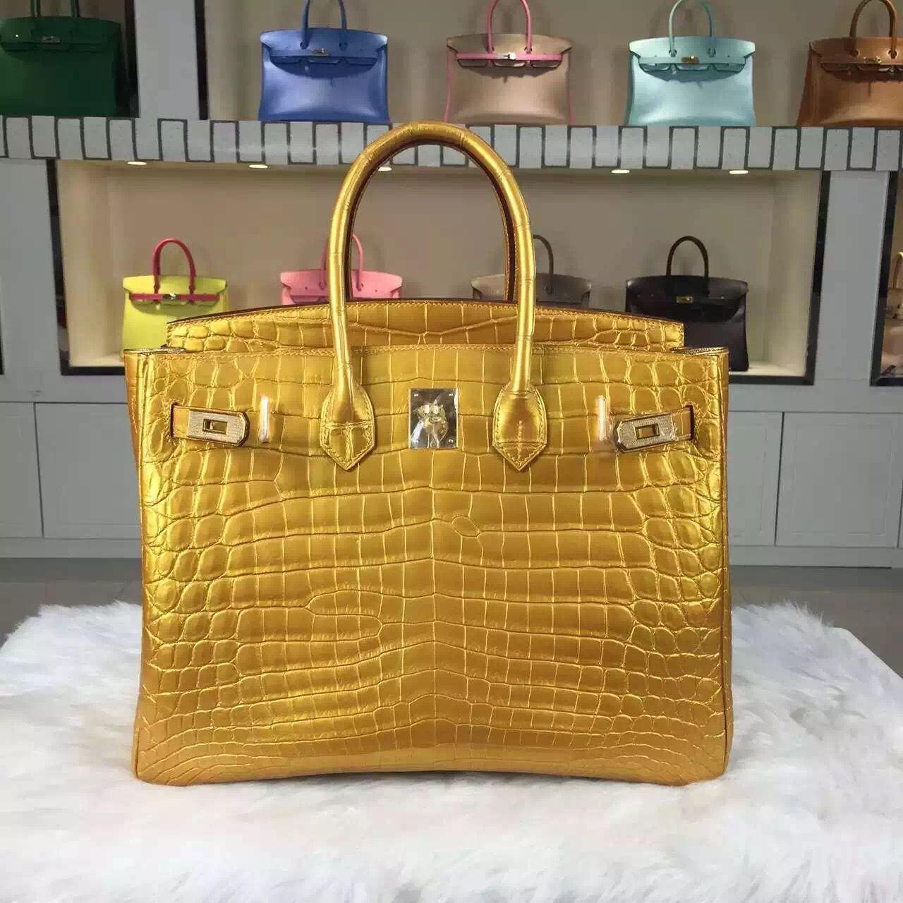 0d503dd103 Brand  Hermes  Style  Birkin Bag35cm  Material Crocodile Leather (HCP  original leather) Color Gold   Hardware  silver