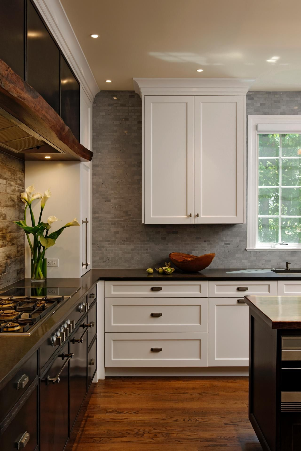 Cool And Contemporary With Rustic Accents This Gorgeous Kitchen Is Full Of Custom Farmhouse Style Kitchen Cabinets Contemporary Kitchen Kitchen Cabinet Styles
