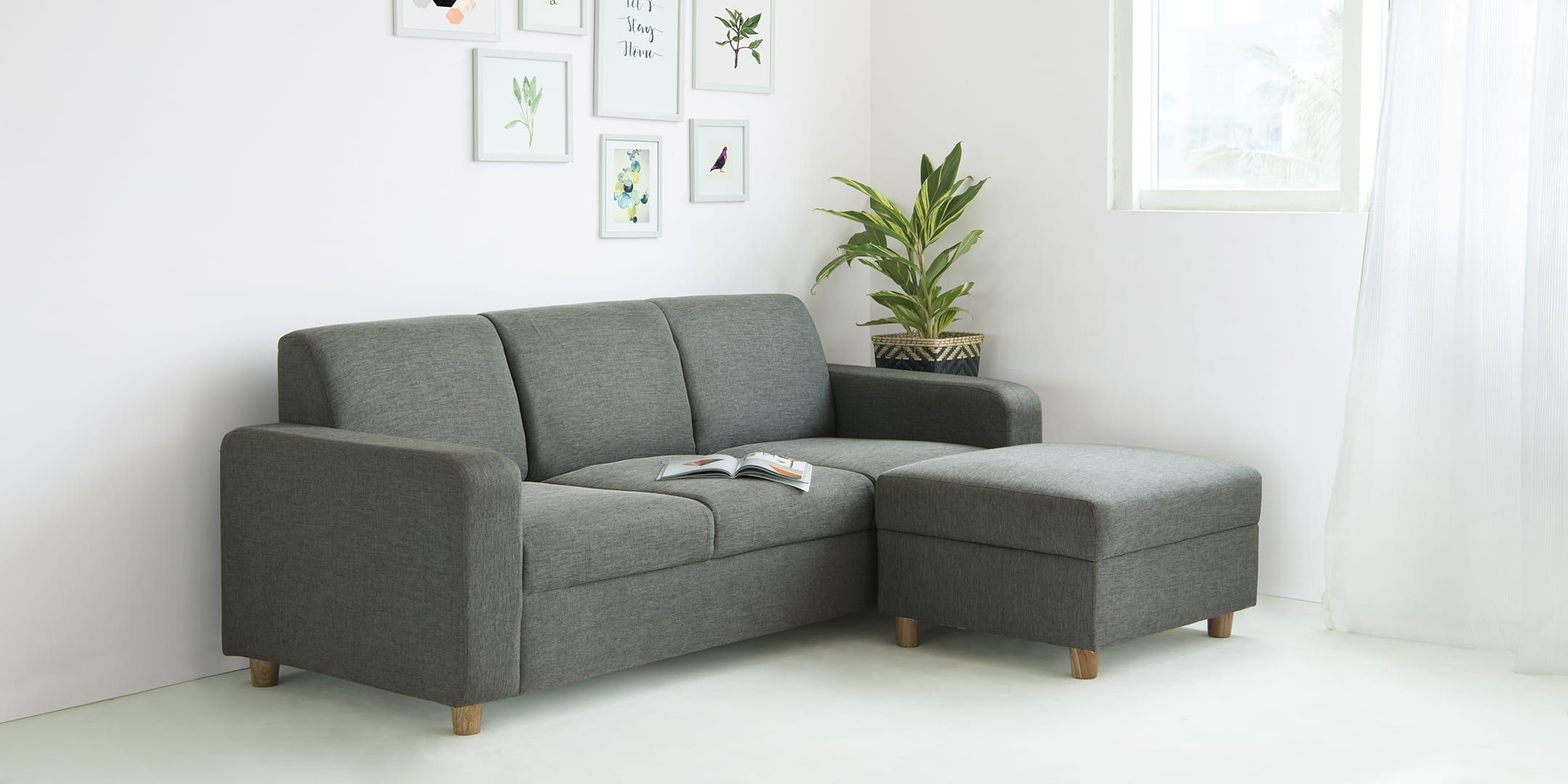 Flex L Shaped Living Room Furlenco Will Fit In The Door Side Or As You Enter I Like The Ottoman An In 2020 Furniture L Shaped Living Room Living Room Furniture