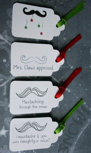 Fun mustache holiday gift tags.