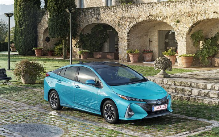 Download Wallpapers Toyota Prius 2017 Cars Hybrid Plug In Blue