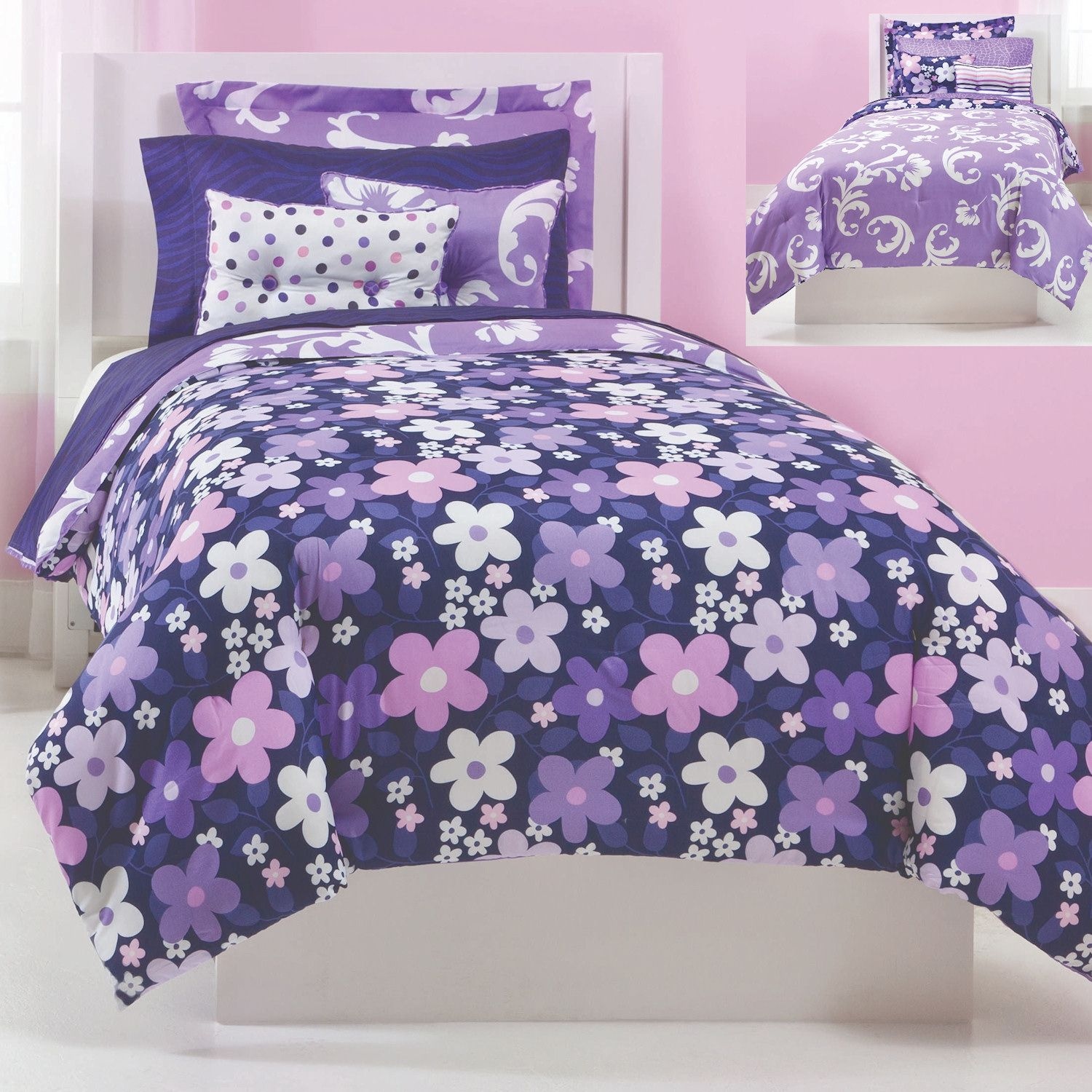 Grape gatspy bedding reversible purple floral and scroll bedding this grape gatsby bedding set - Cute teenage girl bedding sets ...