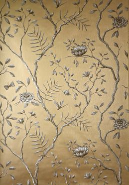 Old Gold Metallic Lewisandwoodcouk Floral Scenic Wallpaper