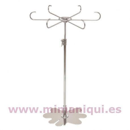 Expositor metálico, con base en forma de flor cromada. Para el mostrador o el escaparate. Regulable en altura para poner collares, cadenas, llaveros...  www.mimaniqui.es