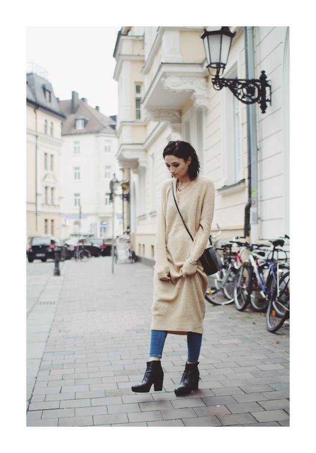 Outfit: Midi-Pullover-Kleid-oderso