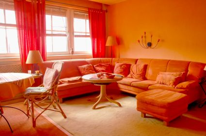 Green Red And Orange Living Room Stock Illustration ...