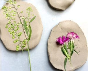 Nature Craft – Perfect for Earth Day Activity – Clay Imprints with Plants and Flowers