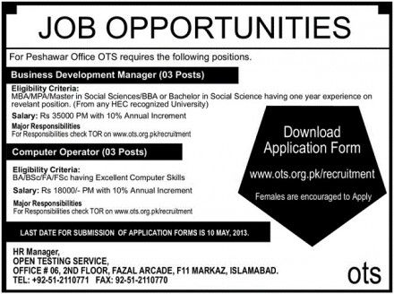 Jobs Opportunities In Peshawar Office Ots  Jobs Career