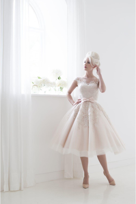 Blush wedding dress with sleeves  POPPY Tea Length Vintage Style Short Blush Wedding Dress Cap Sleeve