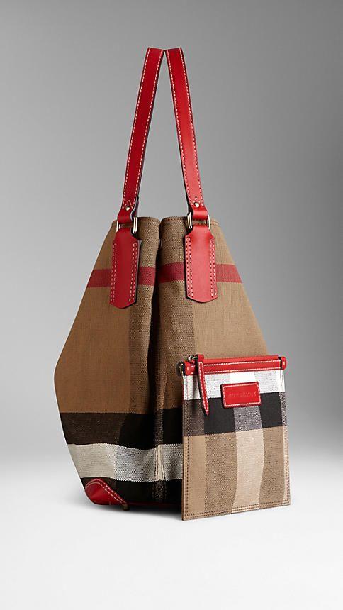 d504223d4547 Medium Canvas Check Tote Bag