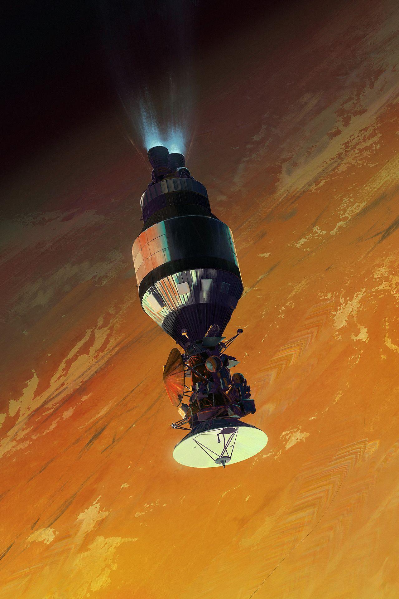 """run2damoon """" Cassini 19972017 Mac Rebisz """" Space art"""