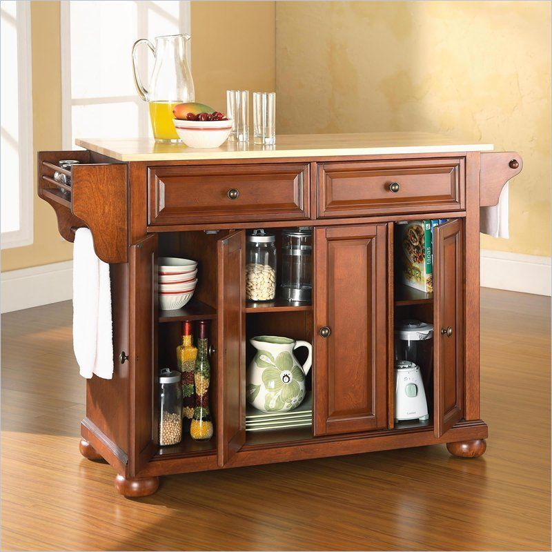 370 ebay crosley furniture alexandria natural wood top island classic cherry kitchen cart