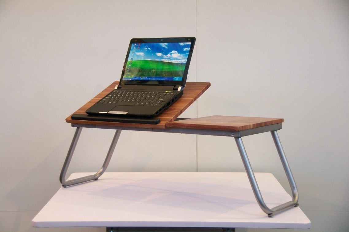 Charming Business Desks Furniture With Brown Wooden Modern Portable Laptop Desk Along Stainless Table Legs Also